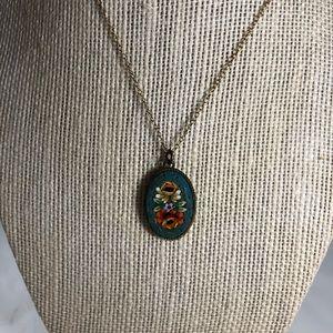 Vintage Micro Mosaic Pendant Necklace